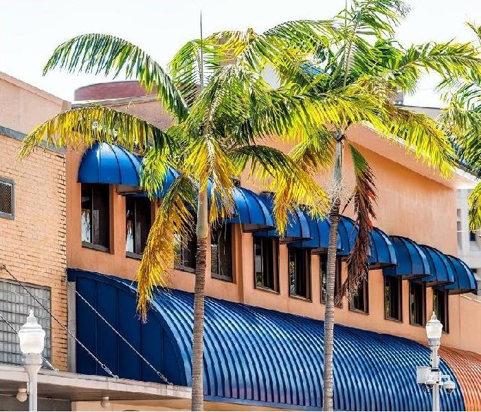 Outside view of an orange building with blue awnings and palm trees in front