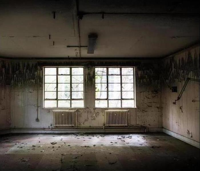 Room with two windows and soot covering the walls, ceiling and floor
